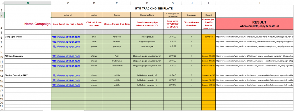 UTM tracking template